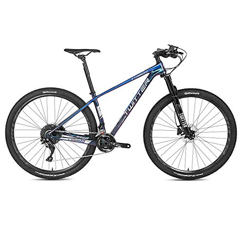 BIKERISK Mountain Bike 27.5/29 inches Hybrid Bicycle Carbon fiber bicycle with 22/33 Speed Derailleur,15/17/19 inches Frame,Adjustable Seat,Quick Release Racing,Blue,22speed,27.5×15