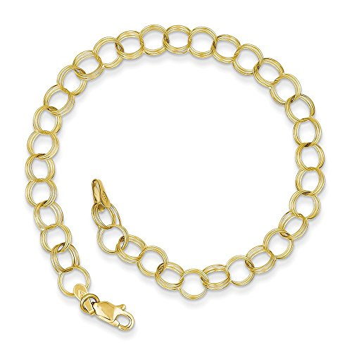 10k Yellow Gold Triple Link Charm Bracelet 7 Inch Fine Jewelry For Women Gifts For Her