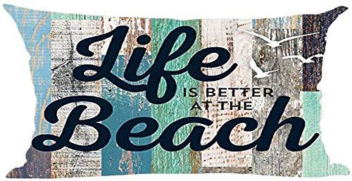 Mesllings Word Art Quote leven is beter bij het strand Retro Houten achtergrond Decoratieve Lumbar Kussen Hoesje Kussen Thuis Woonkamer Bed Slaapbank Auto Katoen Linnen Rechthoekig 12 x 20 Inch