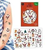 JEKA Kindertattoo Weihnachten, 3 Bögen Tattoo Kinder, Geschenkidee Weihnachten, Kinder Tattoo Weihnachten, Aufkleber Kinder, Mal Mich Bunt