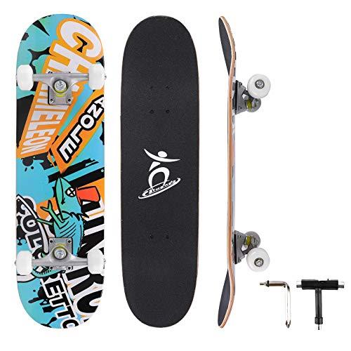 Colmanda Skateboard 31 Zoll Komplettboard, 79x20cm Skateboard Holzboard mit ABEC-7 Kugellager 7-lagigem Kanadischem Ahornholz und PU-Räder, Vintage Skate Board für Anfänger Jugendliche Erwachsene