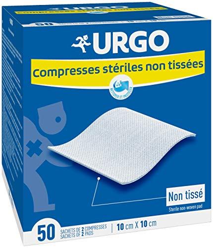 Urgo - Compresses stériles - Non tissées - Boîte de 50 sachets de 2 compresses - 10cm x 10cm