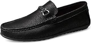 Sygjal Men Driving Loafers Casual Fashion Comfortable Soft Rustproof Metal Buckle Convenient Boat Moccasins (Color : Black, Size : 43 EU)
