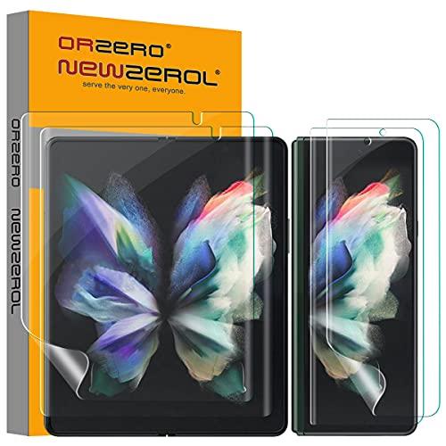 NEWZEROL 4 Stück TPU Bildschirmschutzfolie Kompatibel für Samsung Galaxy Z Fold 3 5G, Enthält 2 Stück Innen Bildschirmschutzfolie & 2 Stück Außen Bildschirmschutzfolie,Umfassender Schutz [Maximale Abdeckung]