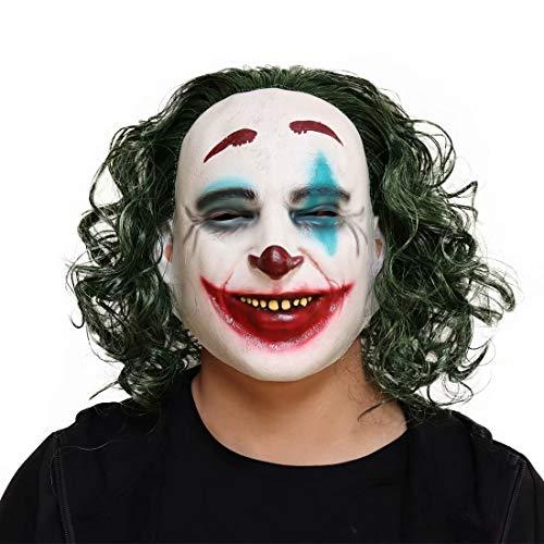 Clown Joker masker met groene pruik, de donkere ridder vol hoofd griezelig masker, Halloween kostuum rekwisieten