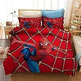 Goplnma - Juego de ropa de cama, diseño de Spiderman de los Vengadores de Marvel, impresión 3D, con funda de almohada, para niños y adultos, para cama individual y doble (140 x 210 cm, 2)