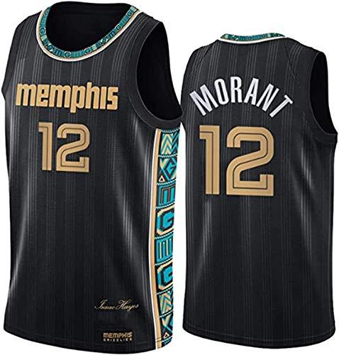 Memphis Grizzlies Uniforme de Baloncesto para Hombre, JA Morant # 12 New Temporada Jersey, Unisex Sportswear Poliéster Bordado Clásico Bordado Malla Transpirable Camiseta sin Mangas (Size : Small)