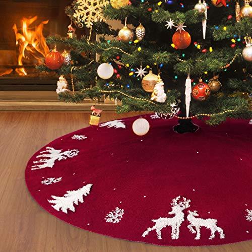 48inch Jupe de sapin de Noël en tricot de 122cm, tapis de sapin de Noël en 3D avec élan rouge rustique pour décorations de Noël d