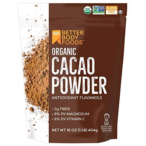 BetterBody Foods Organic Cacao Powder, Non-GMO, Gluten-Free Superfood ( .), Cocoa 16 Ounce