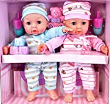 "14"" Twins Baby Girl & Boy Twin Dolls Babies Gift Set - Dummy, Toy, Doll Accessories"