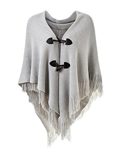 Ferand Poncho-Schal in lässiger Passform mit stylischen Hornknöpfen, V-Ausschnitt und V-Saum für Frauen, Grau