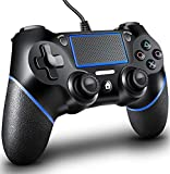 Wired PS4 Controller, PS4 Wired Controller Dual-Shock 4, PS4 Controller Wired 6-Axis, Steam Controller, PC Gaming Controller, USB Controller for Playstation 4/PC/PS4 Slim/Pro(Black/Blue)