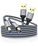 USB A to USB B 3.0 Cable 10FT (2 Pack), AkoaDa Durable Nylon Braided Type A to B Male Cable Compatible with Printers, Monitor, Docking Station, External Hard Drivers, Scanner, USB Hub and More Devices