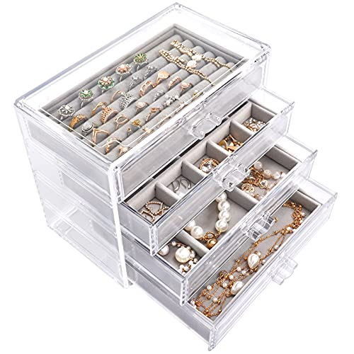 Mebbay Acrylic Jewelry Box with 4 Drawers, Velvet Jewelry Organizer for Earring Necklace Ring & Bracelet, Clear Jewelry Display Storage Case for Woman, Grey