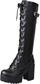 Vibola Knee High Boots for Women Sexy Solid Color Lace Up Chunky Heel Round Toe Boot