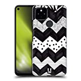 Head Case Designs Zigzag Black and White Doodle Patterns Hard Back Case and Matching Wallpaper Compatible with Google Pixel 4a 5G
