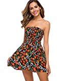 just quella Women Strapless Mini Dress Summer Tube Top Dresses (XS, Orange Flower)