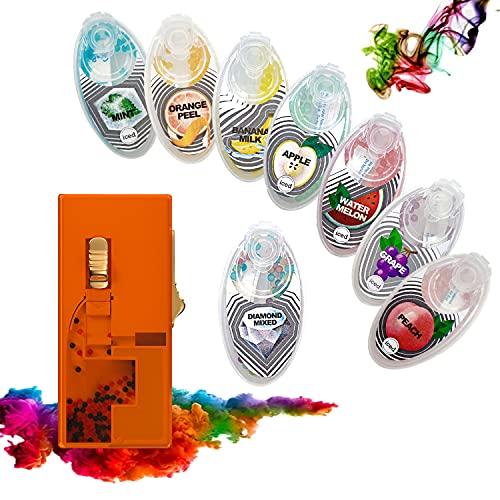 8 AROMATISCHE KASPELN für Zigaretten | Explosion Perlen Kugel Kapsel | Zigarette klick Filter | Aroma Infusion Flavour | 200 Kapseln | 8 Sorten Mix | Perlenbox | Zigarettenfilter (King 800)