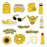 Vsco Girls Stickers for Water Bottles Big 15-Pack, Yellow Waterproof Stickers for Hydro Flask,Laptop,Phone,Travel, Photo Sharing, Outdoor - Cute, Trendy, Aesthetic Vinyl Stickers for Teen Girls, Kids