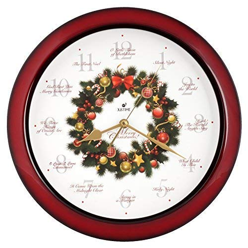 Justime Elegant 14-inch 12 Song of Carols of Christmas Wreath Melody Wall Clock, Quartz Home Wall Deco Clock (WR Red)