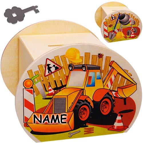 alles-meine.de GmbH große Holz - Spardose - Bagger / Baggerlader & Baustelle - inkl. Name - mit Schlüssel & Schloß - stabile Sparbüchse - 11,5 cm - Sparschwein - für Kinder & Erw..