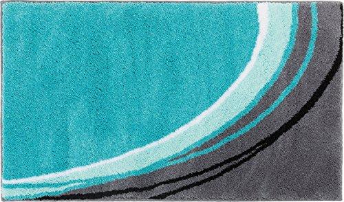 Erwin Müller Badematte, Badteppich, Badvorleger rutschhemmend türkis Größe 60x100 cm - kuscheliger Hochflor, für Fußbodenheizung geeignet (weitere Farben, Größen)