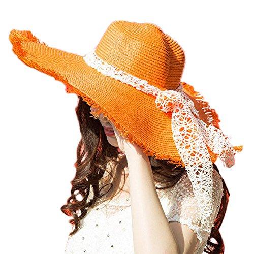 Da.Wa Chapeau de Soleil en Paille, Bord de souplesse Large, Chapeau de Protection Solaire, Chapeau de Plage, Chapeau de Paille crocheté