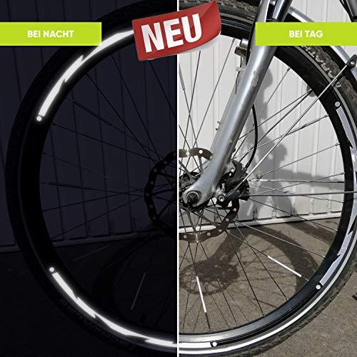 Filfia® Fahrrad Reflektoren - Mehr Sicherheit & Cooles Design - Wasser- & witterungsfeste Reflektor Aufkleber mit 3M Technologie für Fahrrad-felgen - 28 Zoll Silber
