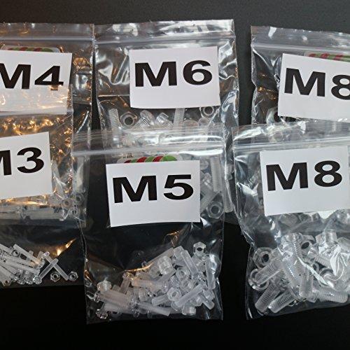 Paquete de 100 tornillos y tuercas, Arandelas, transparentes, de plástico acrílico. M8,...