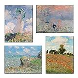 LuxHomeDecor Bilder Claude Monet 4 Stück 40 x 30 cm Druck