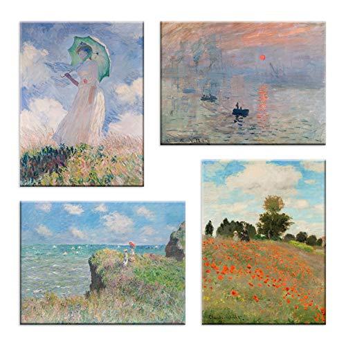 LuxHomeDecor Wandbild Claude Monet 4 Stück 40 x 30 cm Druck auf Leinwand mit Rahmen aus Holz Arte Möbel