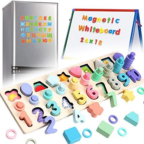3 en 1 Rompecabezas Madera Niños Magnéticos de Madera para Chico Aprender a Contar Magnéticos para Niños Pequeños, Rompecabezas de Bloques Apilables de Matemáticas de Educación Temprana  Regalos