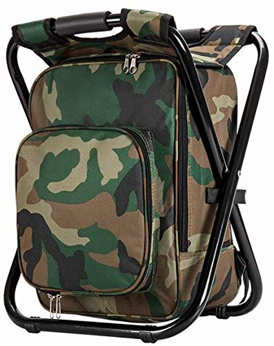 UISTRENGH Folding Large Size 3 in 1 Multifunctional Fishing Backpack Chair Stool with Cooler Insulated Picnic Bag Portable for Hiking Camping Travel BBQ Trekking (Camouflage)
