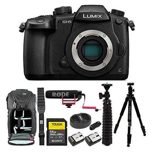 Panasonic GH5 Lumix 4K Mirrorless Camera w/ 45-150mm Lens & 64GB SD Card Bundle