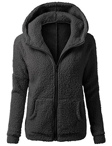 Womens Casual Woolen Blends Hoodie Zipper Long Sleeves Warm Winter Coats Jackets Black M