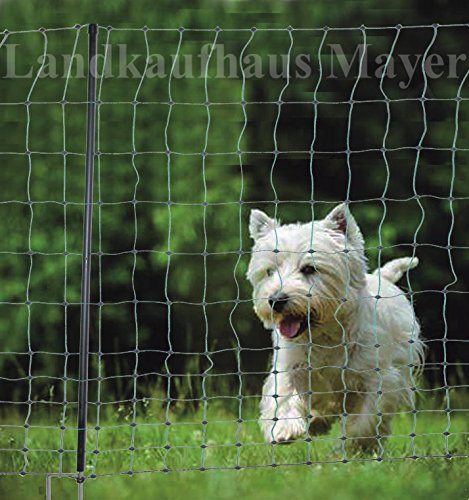 Landkaufhaus Mayer Hundezaun Katzenzaun Hühnerzaun 15m grün 105cm höhe +6 Pfähle Hütezaun Hütenetz Hunde/Katzen-Zaun Einzäunung