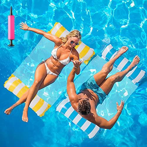 Huarumei 2Stk Luftmatratze Pool, Pool Spielzeug Erwachsene 4 In 1 Aufblasbare Wasserspielzeug Pool Zubehör, Pool Wasserhängematte Wasser Hängematte für Sessel Matratzen Sitz Schwimmmatte, Blau &...