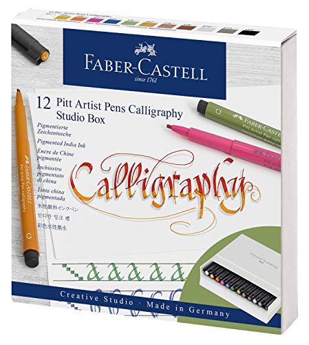 Faber-Castell 167512 Tuschestift Pitt Artist Pen C, Calligraphy, 12er Atelierbox, bunt