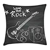 Ambesonne Guitar Throw Pillow Cushion Cover, Love The Rock Music Themed Sketch Art Sound Box and Text on Chalkboard, Decorative Square Accent Pillow Case, 16' X 16', Charcoal White
