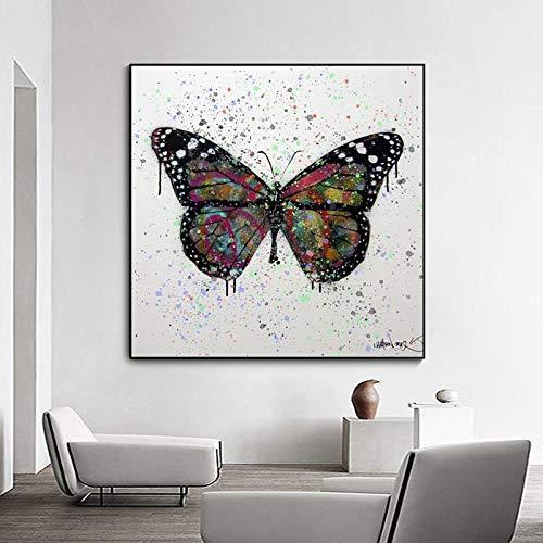 UIOLK Graffiti decoración Abstracta Colorida Mariposa Cartel nórdico Lienzo impresión Arte de la Pared Imagen decoración de la Sala de Estar