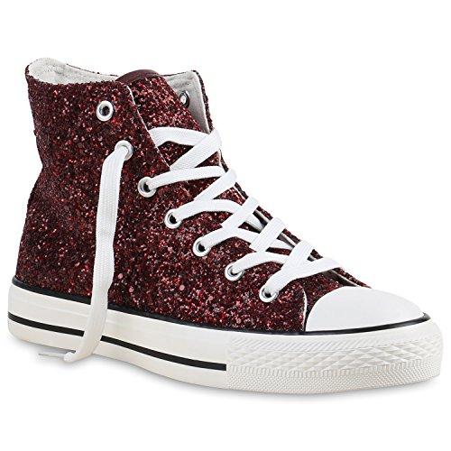 stiefelparadies Damen Sneakers Muster Camouflage Damen Glitzer Turn Sneaker High Schuhe 137108 Dunkelrot 41 Flandell