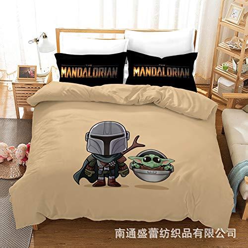 Vampsky Anime americanos -Star Wars: Ropa de cama de los Niños mandaloriana impresas en 3D de dibujos animados cubierta del edredón cómodo y suave, antiestático fan del animado Casa masculina del lech