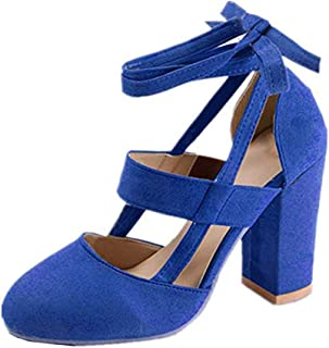Womens Chunky Ankle Strappy Sandals Lace Up High Heels Party Simple Classic Pumps