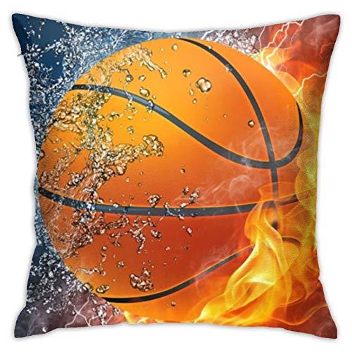 QUEMIN Fundas de almohada para baloncesto de agua y fuego, almohada para decoración del hogar, sofá, cama, coche, 45,7 x 45,7 cm
