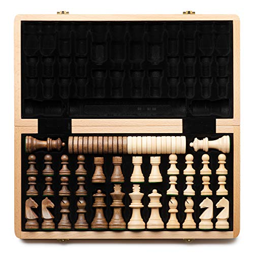"""A&A 15"""" WOODEN CHESS & CHECKERS SET / Folding Board / 3"""" King Height German Knight Staunton Chess Pieces / Beech wood, Walnut & Maple Inlaid / 2 Extra Queen / Classic 2 in 1 Board Games"""