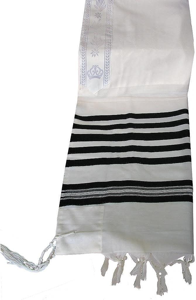 Talitnia Traditional Tallit 100% Wool Tallis Talit or Talis R-70 FRUM SIZE, White Black, 60 x 80 Inches