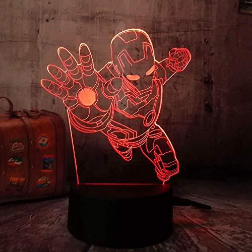 Lampe d'illusion 3D, The Avengers Marvel Comics Fly Iron Man LED Night Light Lampe de bureau 3D Multicolore RGB Décoration de la maison Noël Enfants Cadeau Jouet Cartoon