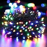 BrizLabs 100 LED Lichterkette Außen Bunt Batterie Lichterkette Innen Weihnachtsbeleuchtung 8 Modi Wasserdicht mit Timer für Weihnachtsbaum SchlafzimmerHochzeit Garten Dekoration, Grünes Kabel