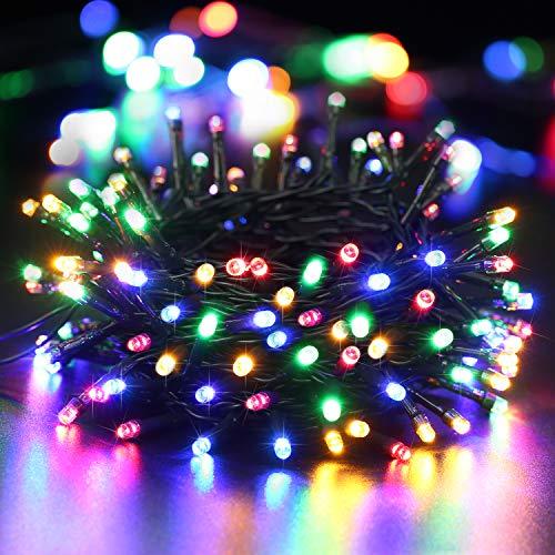 BrizLabs 100 LED Lichterkette Außen Bunt Batterie Lichterkette Innen Weihnachtsbeleuchtung 8 Modi Wasserdicht mit Timer für Weihnachtsbaum...