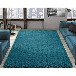 "Ottomanson Collection Solid Shag Rug, 7'10"" x 9'10"", Turquoise"